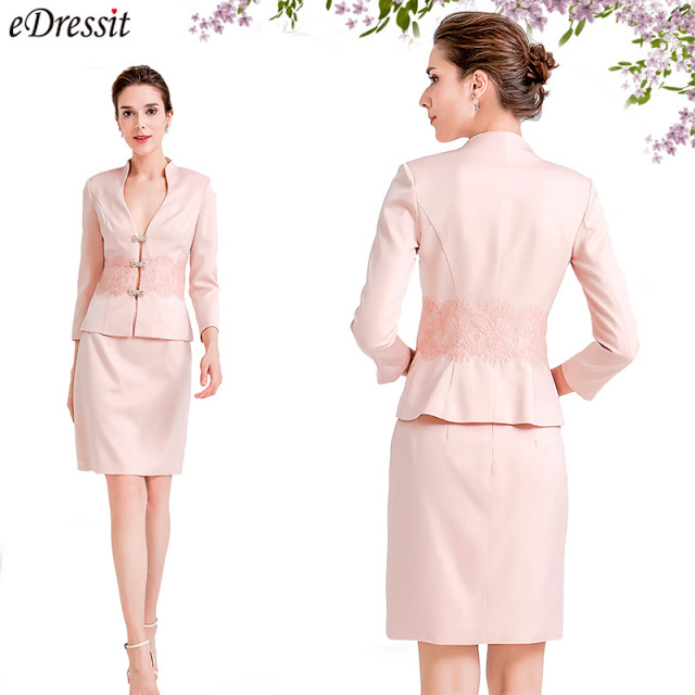 pink two pieces mother of the bride dress