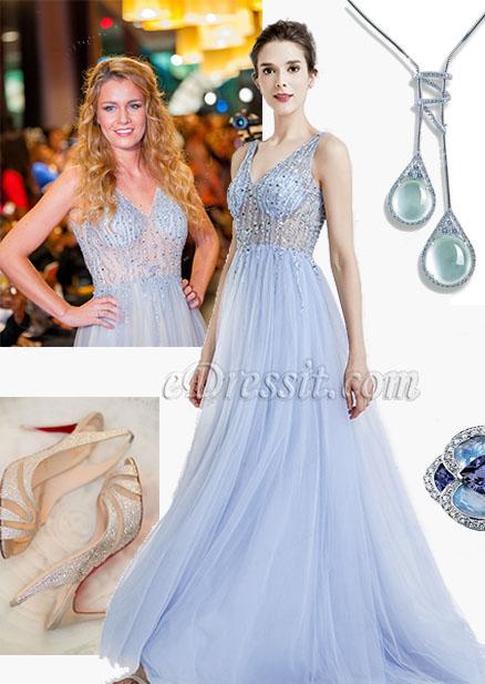 Blue Sparkly V Cut Beaded Women Evening Dresses