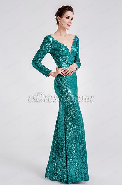 green sequins prom dress ball dress