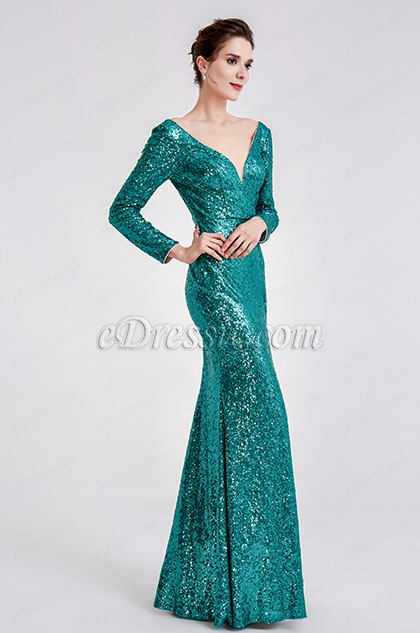 green sequins prom dress ball dress