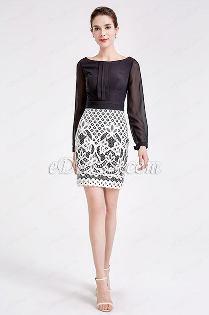 Black &White Chiffon Lace Blouse Suit Dress
