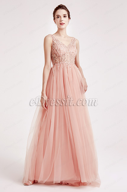 V Cut Beaded Tulle Evening Party Dresses