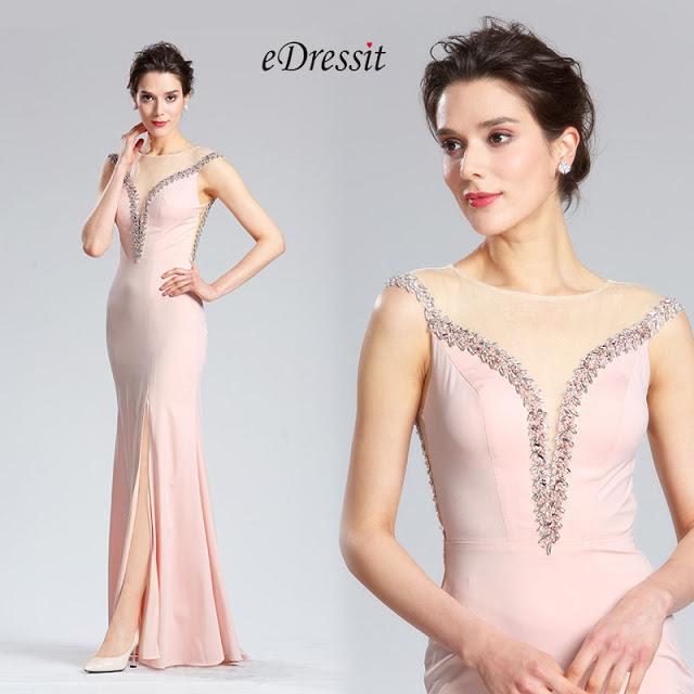 Pink Sleeveless Long split Prom Party Dress