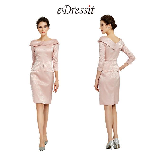 Pink 3/4 Sleeves Mother of the Bride/Groom Dress/Suit