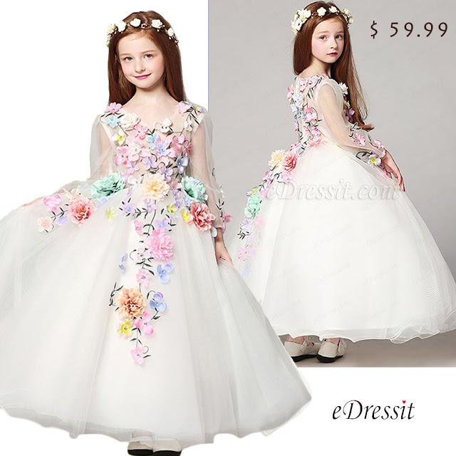 Floral Long Wedding Flower Girl Dress
