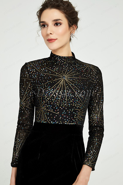 black long sleeves high neck mother of the bride dress