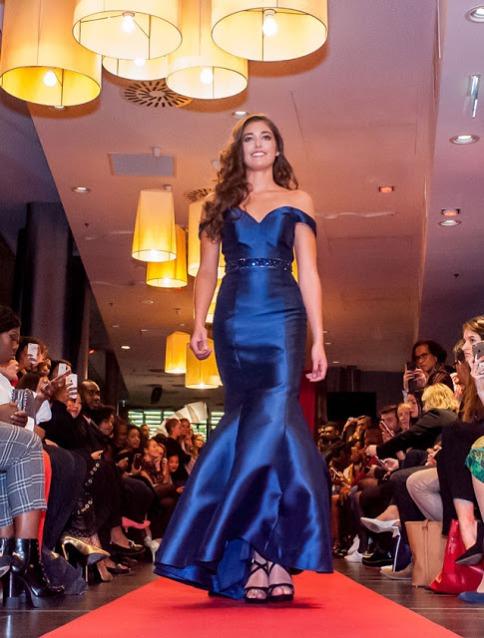Elegant Navy Blue Off the shoulder Prom Evening Dress