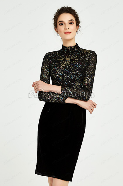 black long sleeves mother of the bride dress
