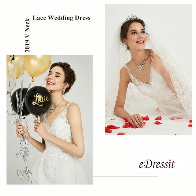 White V-Neck Long Tulle Women Wedding Dress
