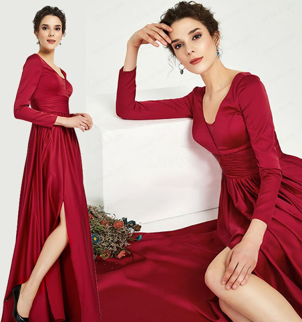Red Long Sleeves Slit Evening Party Dress