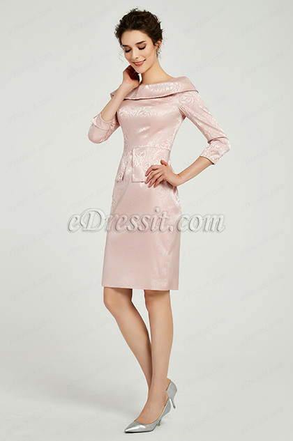 pink day dress long sleeves prom dress