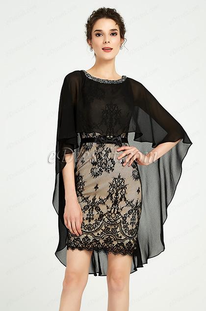 Black Lace Cape Design Cocktail Party Dress