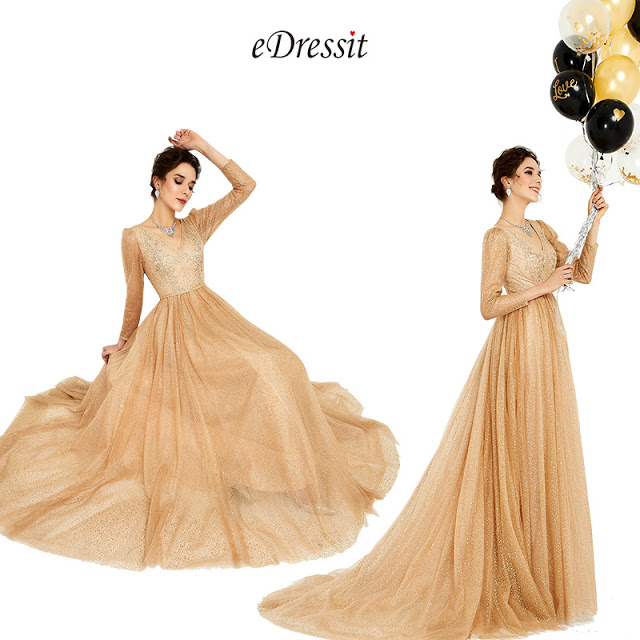 New Fashion Gold-Brown Shiny Formal Evening Dress