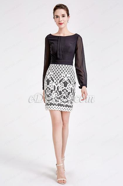 Black &White Chiffon Lace Blouse Suit Dress