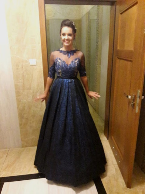 Vintage Half Sleeves Embroidered Bodice Blue Ball Gown