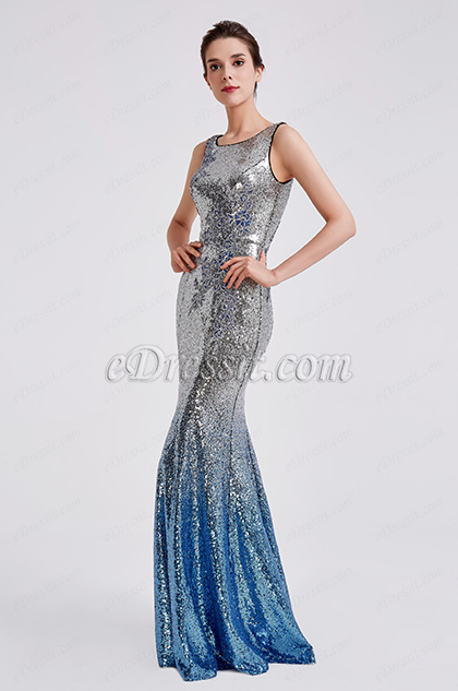 2019 New Sequins Silver-Blue Party Evening Dress