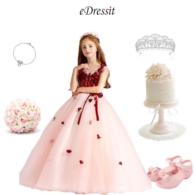 Red/White Children Wedding Flower Girl Dress