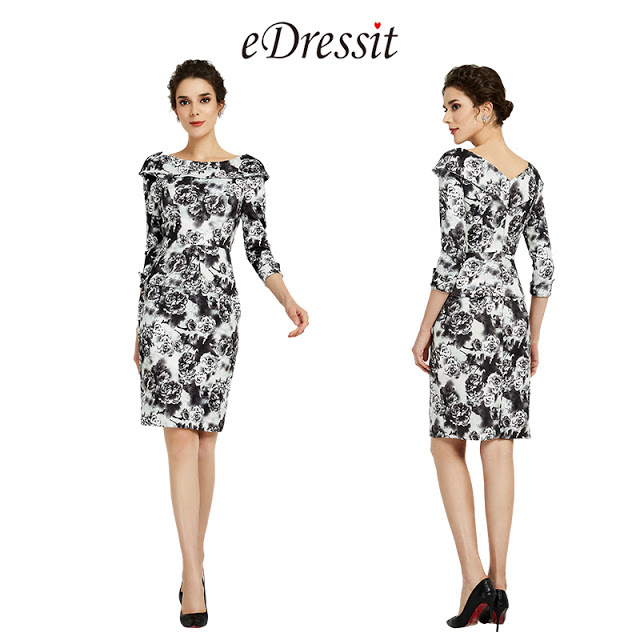 Half Sleeves Print Mother of the Bride Dress