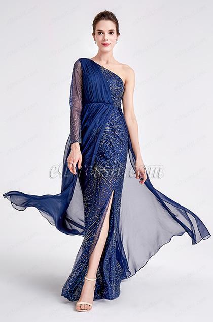 New Blue one Sleeve Sparkle Prom Evening Dress