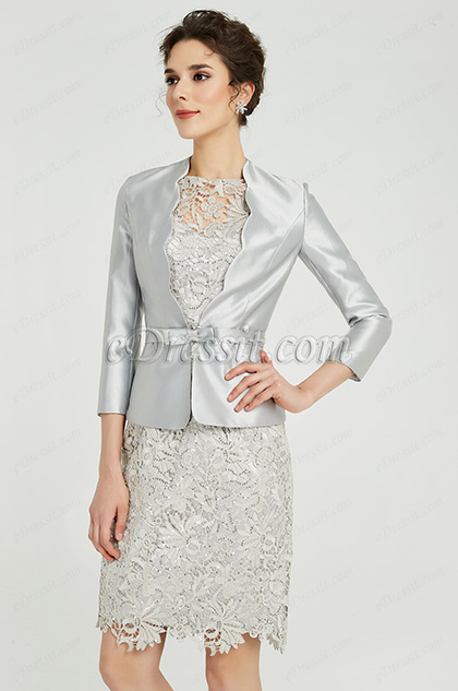 Silver-Grey Two Pieces Mother of the Bride Dress