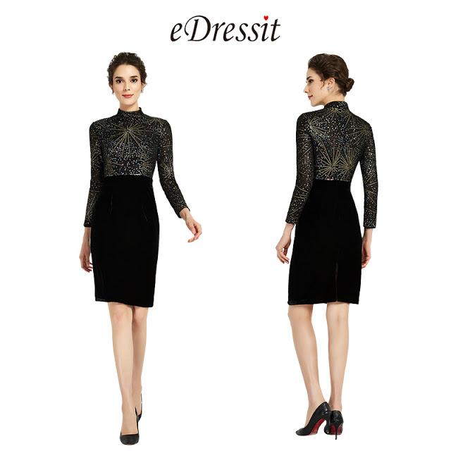Shiny Black High Neck Velvet Skirt Day Dress