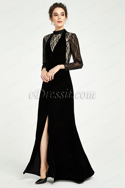 Black High Neck Lace Sleeves Slit Party Dress