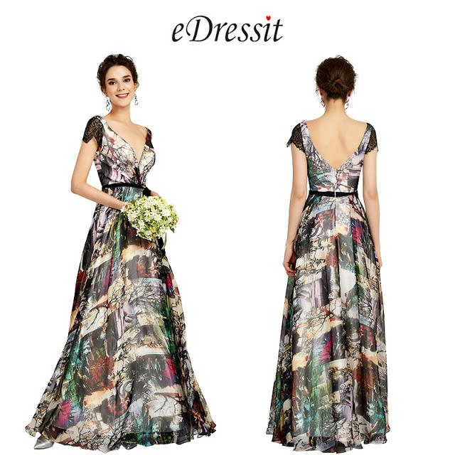 Deep V-Cut Cap Sleeves Floral Print Party Dress