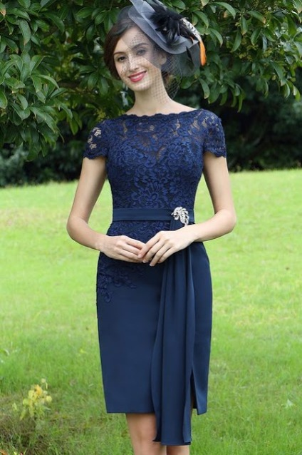 elegant blue lace mother of the bride dress
