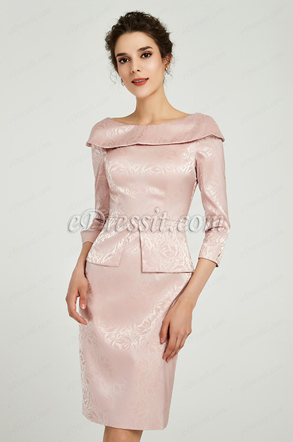 long sleeves pink dress for mother
