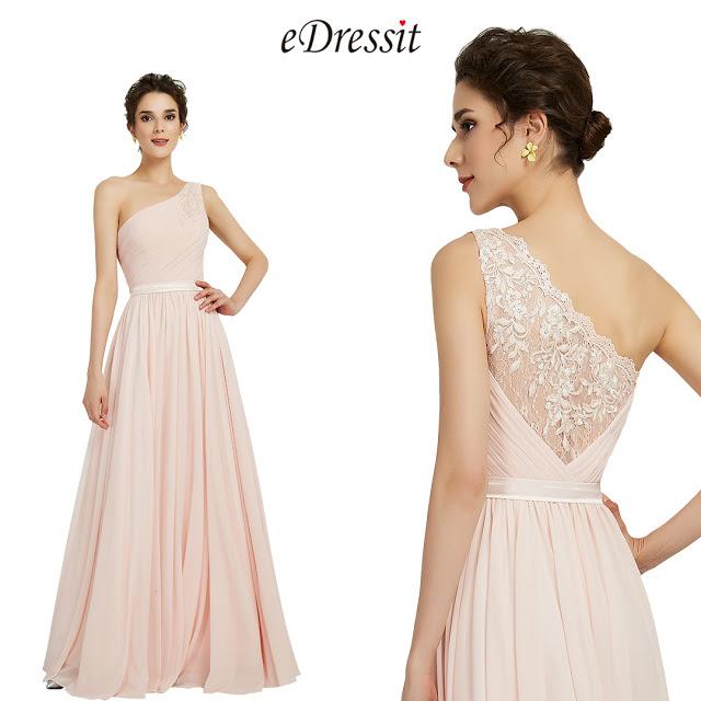 eDressit Elegant One Shoulder Pink Party Bridesmaid Dress