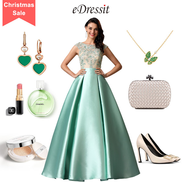 Sleeveless Green Embroidery Ball Gown Formal Dress