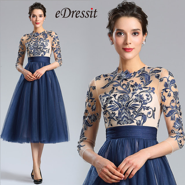Blue Sleeves Embroidery Beaded Cocktail Evening Gown