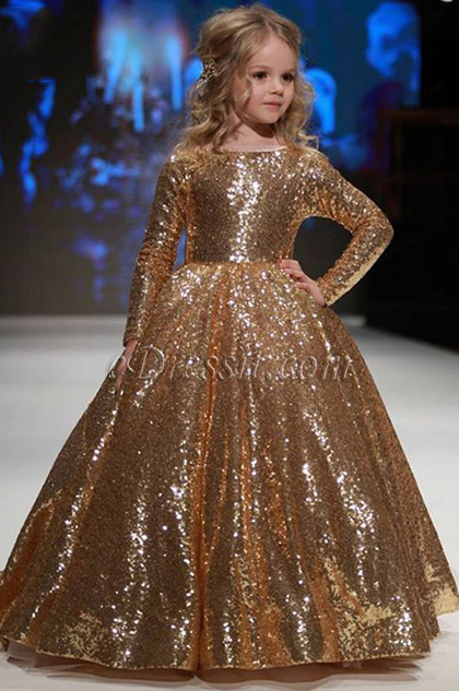 Gold Sequin Long Sleeves Wedding Flower Girl Dress