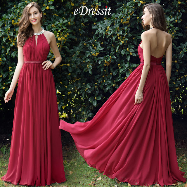 Burgundy Pleated Halter Formal Evening Dress