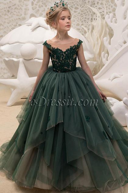 Green Empire Long Wedding Flower Girl Dress