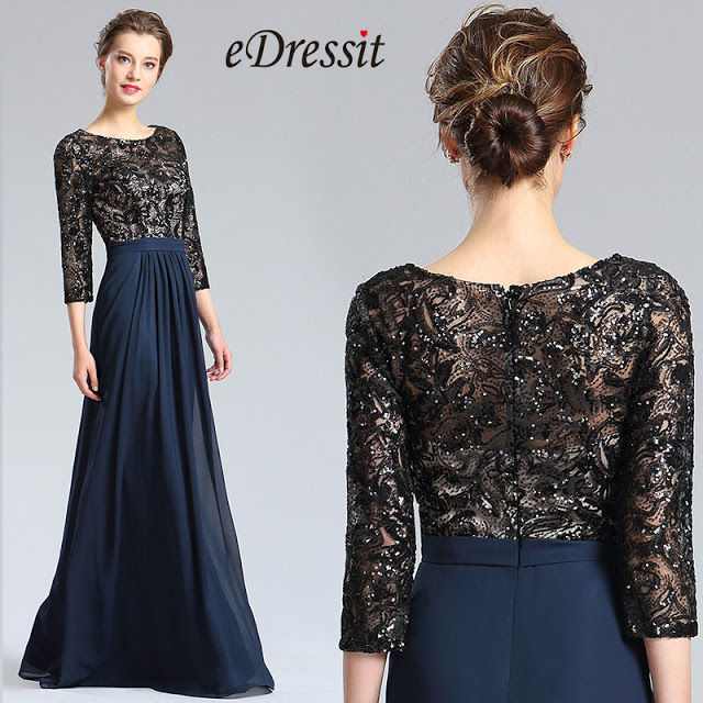 black blue 3/4 sleeves mother of the bride dress
