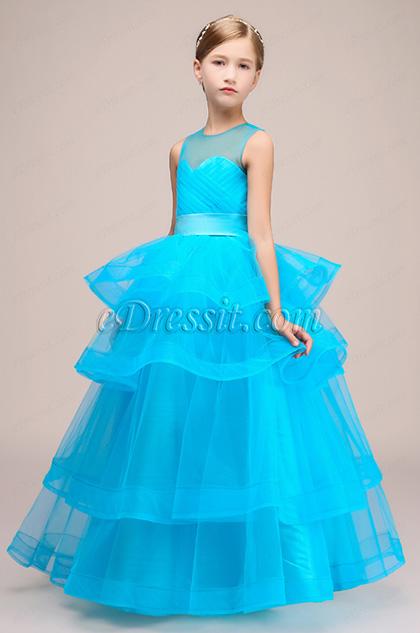 Sheer Top Multi-layer Wedding Flower Girl Dress