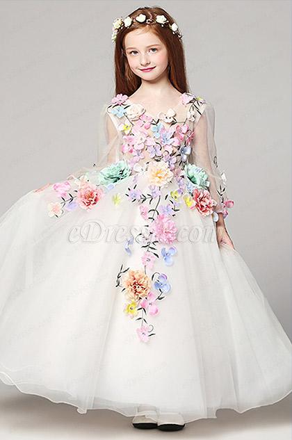 floral long v cut long sleeves princess girl dress