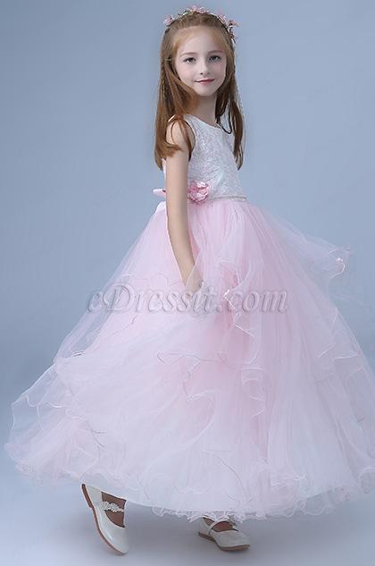 pink sleeveless wedding flower girl dress