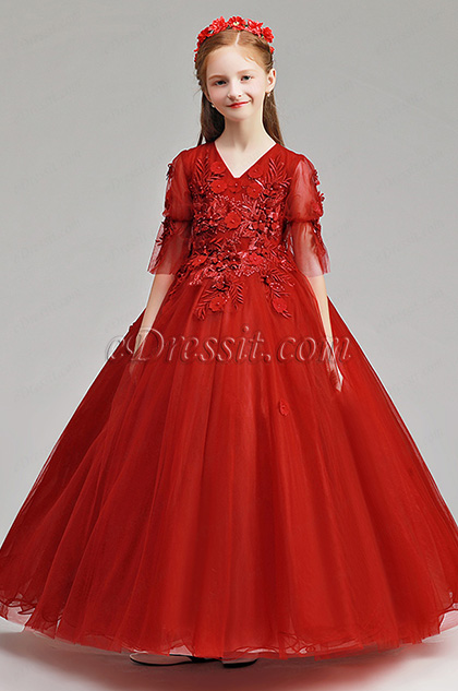 long flower girl dress in red with flower decorated