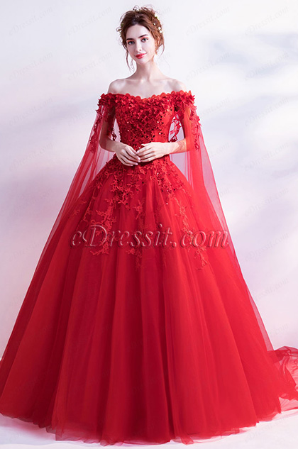 Sexy Red Flower OFF Shoulder Puffy Party Ball Dress