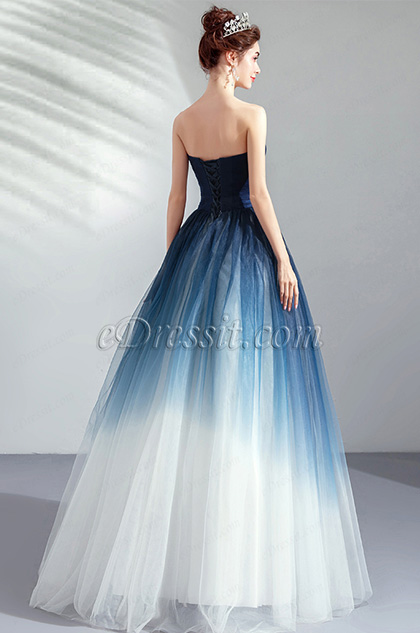 Strapless Blue&White Evening Dress Party Gown