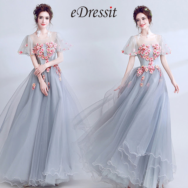 grey floral embroidery prom evening ball dress