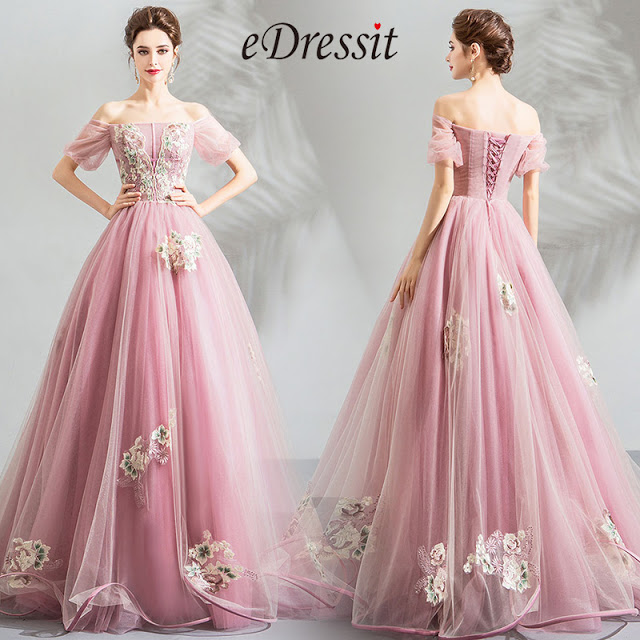 pink off the shoulder embroidery party dress