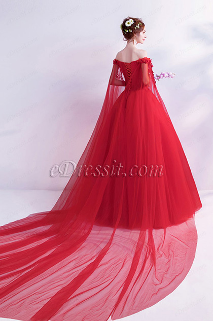 Sexy Red Flower OFF Shoulder Puffy Party Ball Dress Back