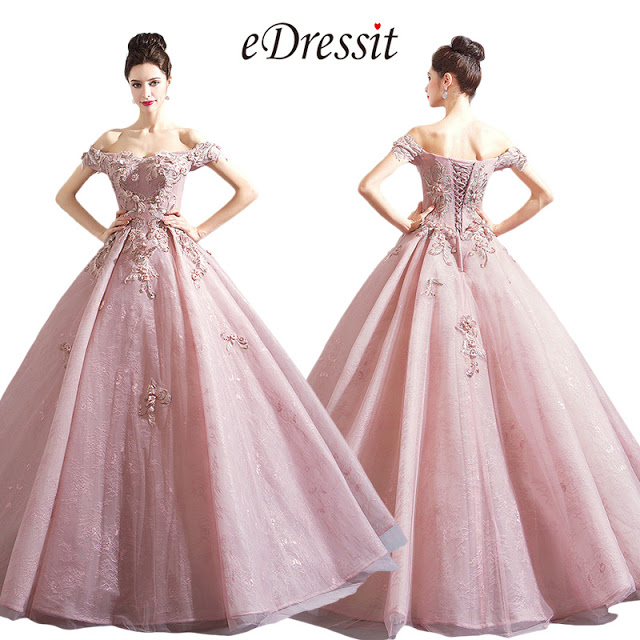 Off Shoulder Embroidery Puffy Prom Ball Gown