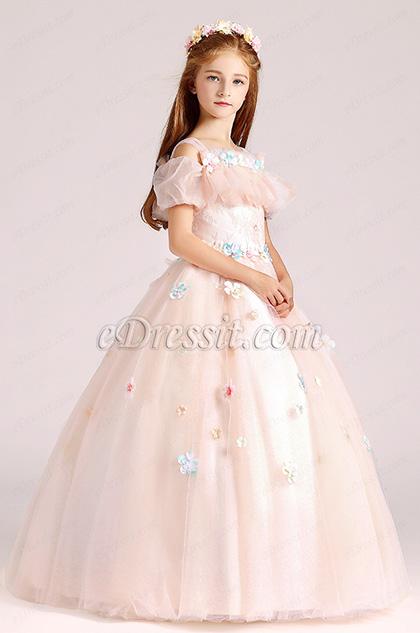 straps light pink flower girl dress