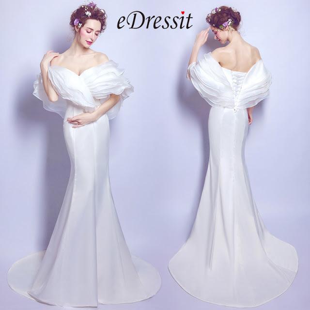 Off the Shoulder Mermaid Long Train Prom Dress