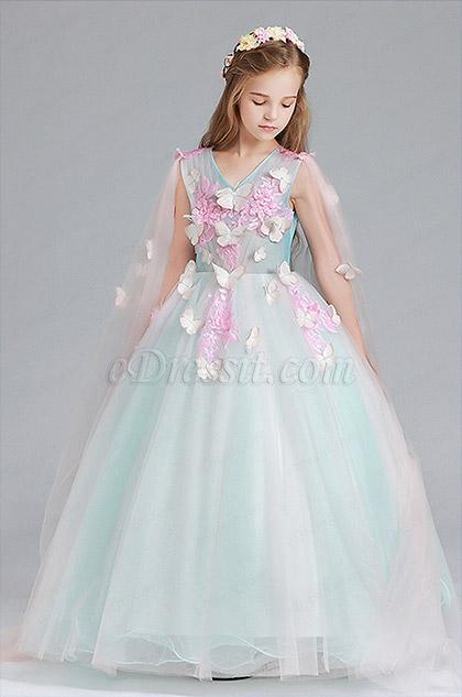 children v neck princess flower girl dress