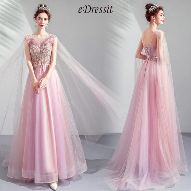 Elegant Long Tulle Bride Evening Prom Dress